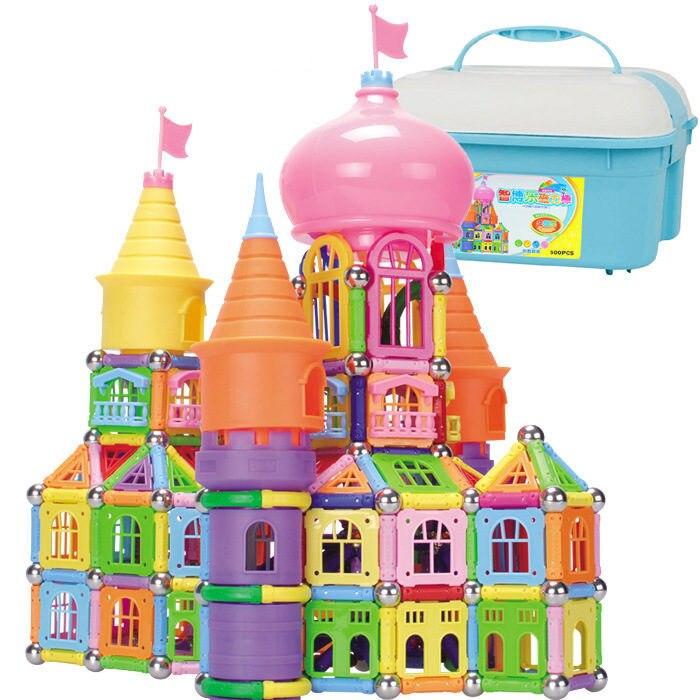 500 pièces de super-grande boîte de rangement aimant bar aimant pièce assemblage bloc de construction château série puzzle jouets