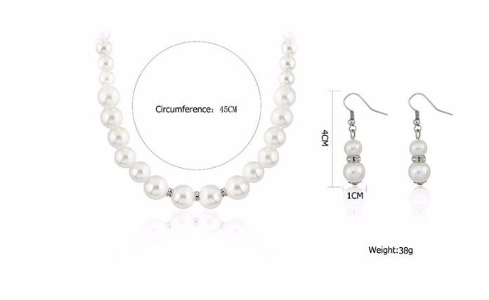 2016 Fashion Classic Imitation Pearl Silver Plated Clear Crystal Top Elegant Party Gift Fashion Costume Pearl Jewelry Sets N85 2