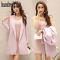 2017 new spring suit female fashion temperament sexy dress two-piece women's long coat tide-dod453