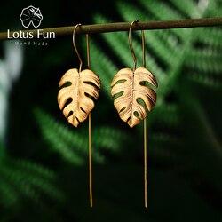 Lotus Fun Настоящее 925 пробы серебро Креативный дизайн ручной работы ювелирные украшения 18 К Золотые листья монстеры Висячие серьги для женщин ...