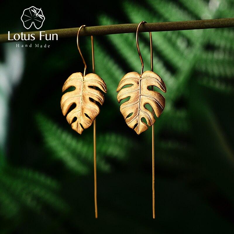 Lotus Spaß Echt 925 Sterling Silber Handgemachtes Feine Schmuck Kreative Monstera Blätter Design Baumeln Ohrringe für Frauen Bijoux