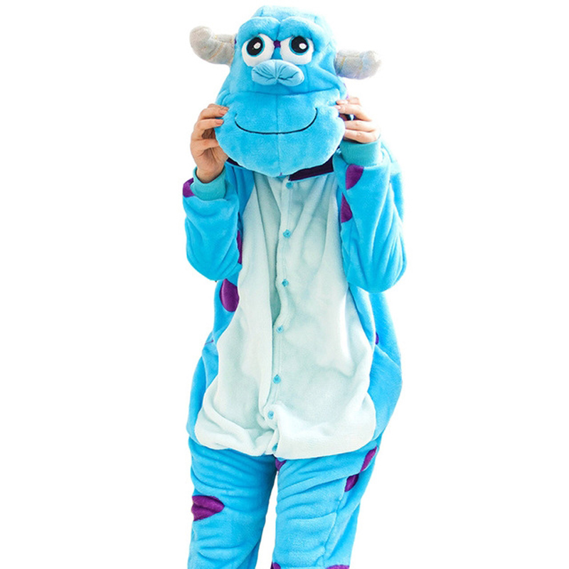 Anime Sullivan Sully Pajamas For Women Adults Animal Flannel Onesie With Button Zipper S ...