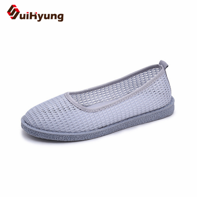 Suihyung 2018 New Women Summer Flat Shoes Breathable Mesh Beach Footwear Ladies Slip On Round Toe Sandals Casual Flats Loafers new casual women sandals shoes summer fashion slip on female sandals bohemian wild ladies flat shoes beach women footwear bt537