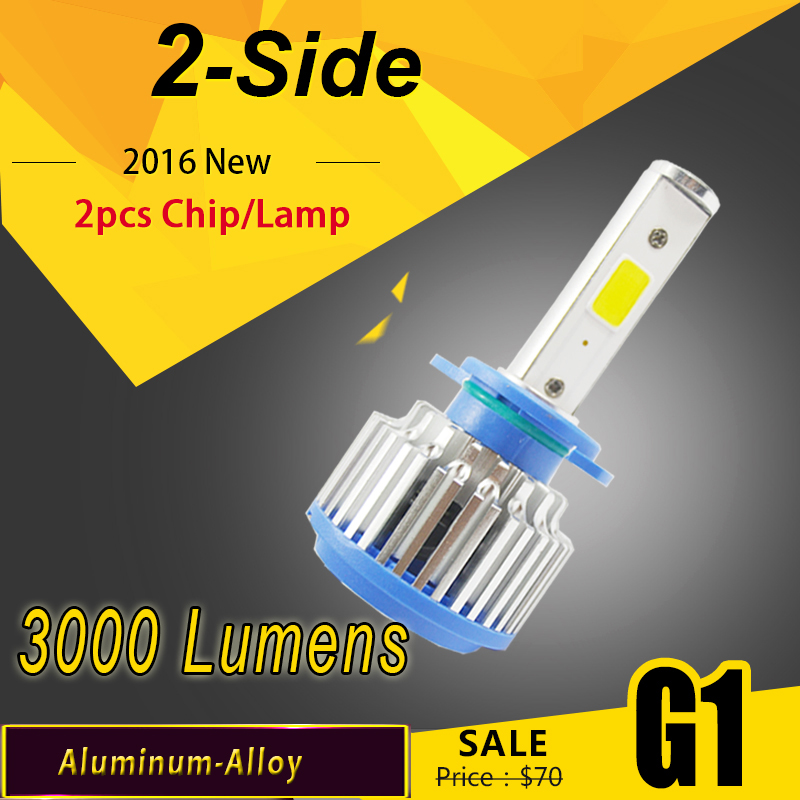 6000Lumens 60W 2 30W COB LED 12V H1 H3 H4 H7 H11 Car Headlight Kit Front