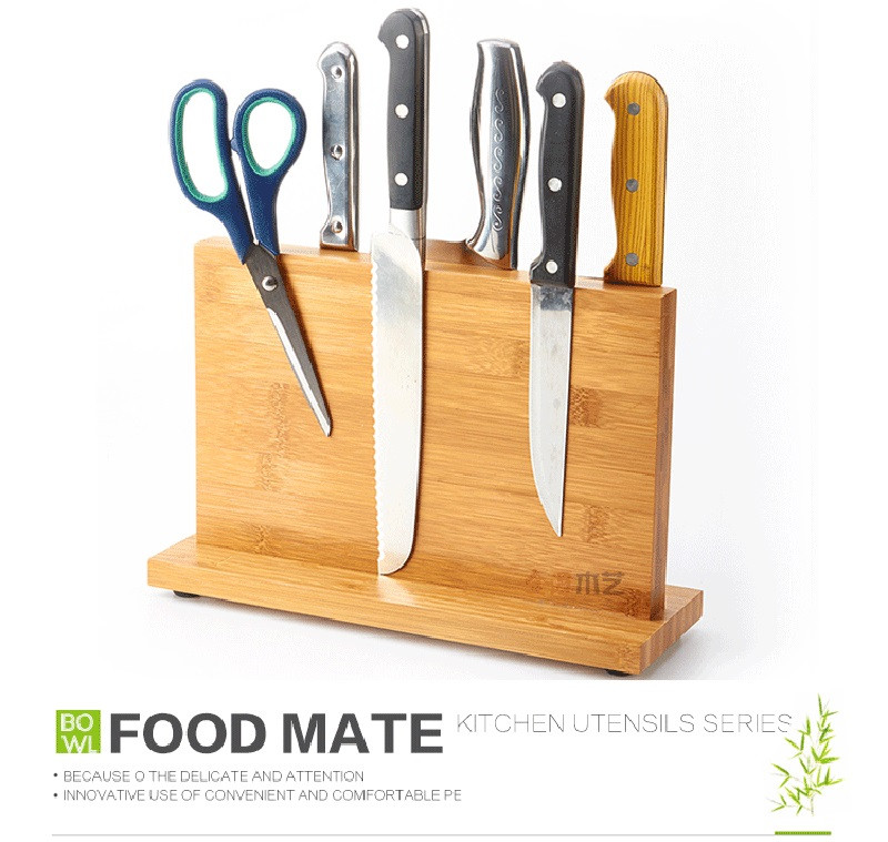 High Quality Creative Magnetic Knife Holder Bamboo Nonporous Clean Health Knife Rack Kitchen Bar Storage Block Knife Block7