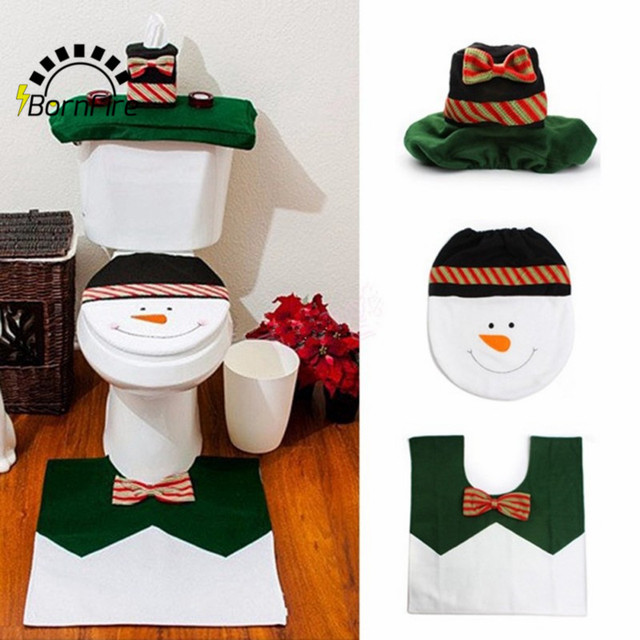 3pc Set Christmas Interior Decoration Xmas Snowman Toilet Seat Cover Rug Bathroom New Year