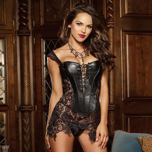 Plus size Steampunk Gothic Women Faux Leather Burlesque lace corset Dress Corpete Corselet Lace up Sexy Women Waist Trainer