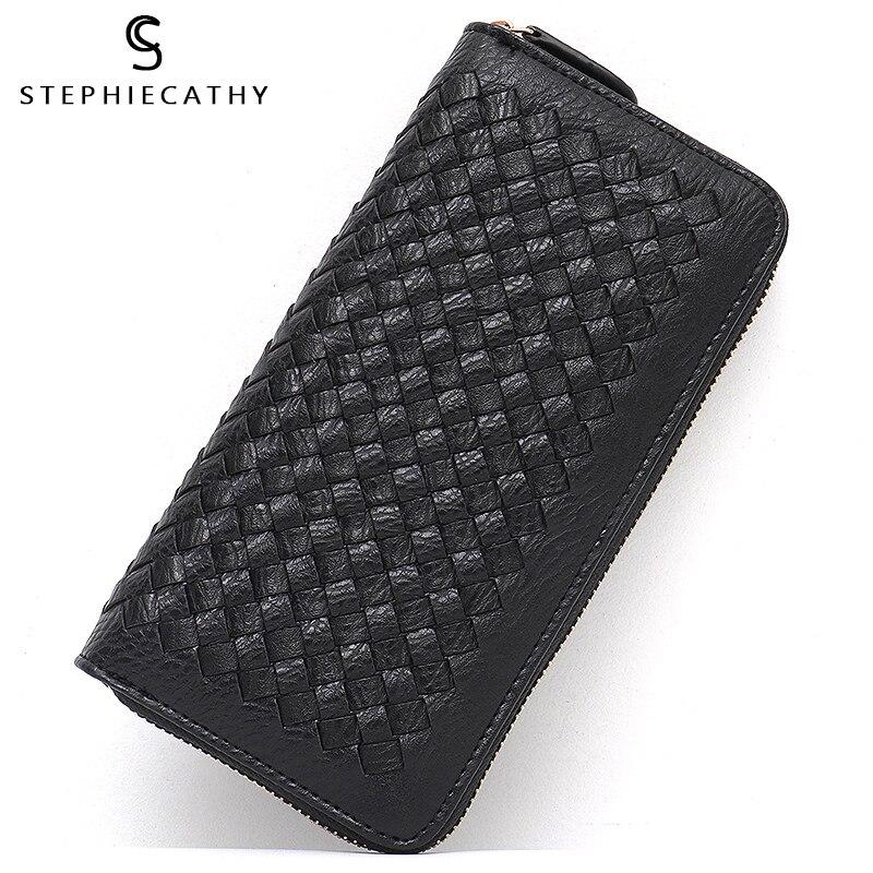 SC femmes portefeuilles femme à la main tissé Long embrayage dames marque filles porte-monnaie nouvelle mode PU cuir Multi poche porte-carte