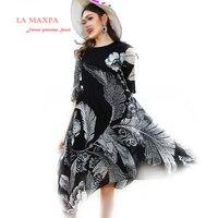 New 2018 Early Spring Grey Feather Print Dress O Neck Half Sleeve Casual Vestido Feminina Summer