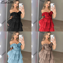 Eskulla Summer Solid  New Womens Sexy Strapless Ruffled Sleeveless Loose Dress Off the shoulder Grils Party Mini Dresses