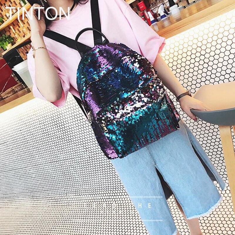 9aecb25661d0 2018 модные милые девушки блестками рюкзаки женские блестка досуг