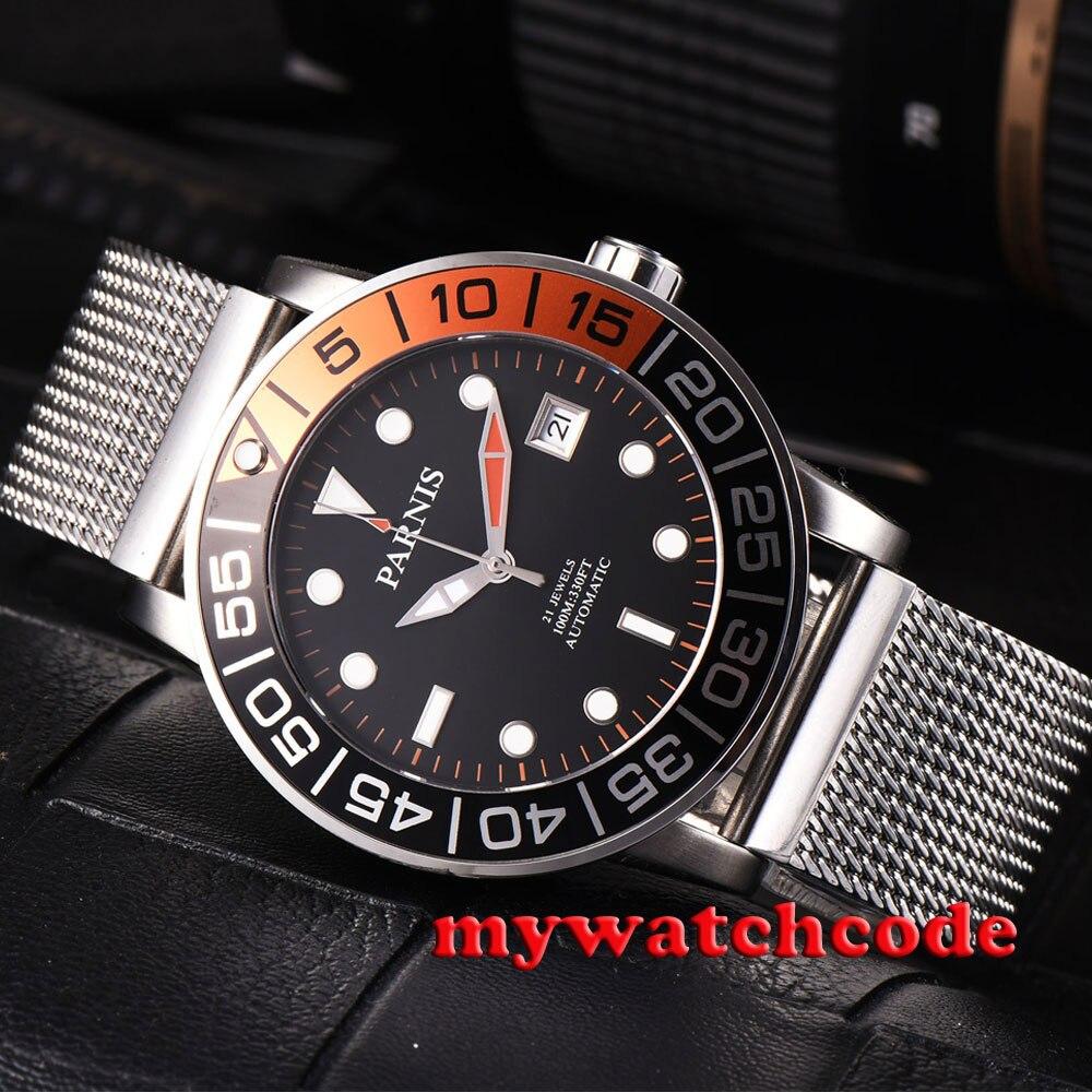 Montre-bracelet automatique pour hommes avec cadran noir parnis 42mm orange et noir