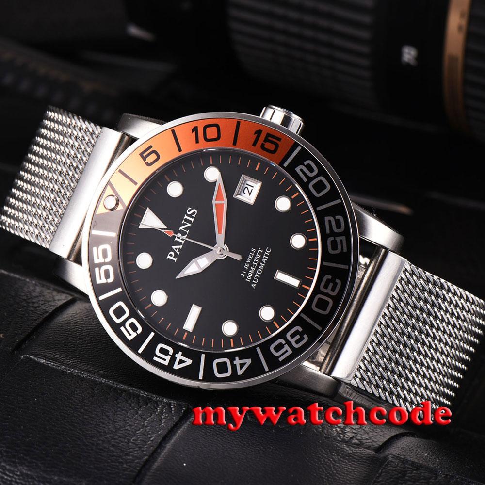 Montre-bracelet automatique pour hommes avec cadran noir parnis 42mm orange et noirMontre-bracelet automatique pour hommes avec cadran noir parnis 42mm orange et noir