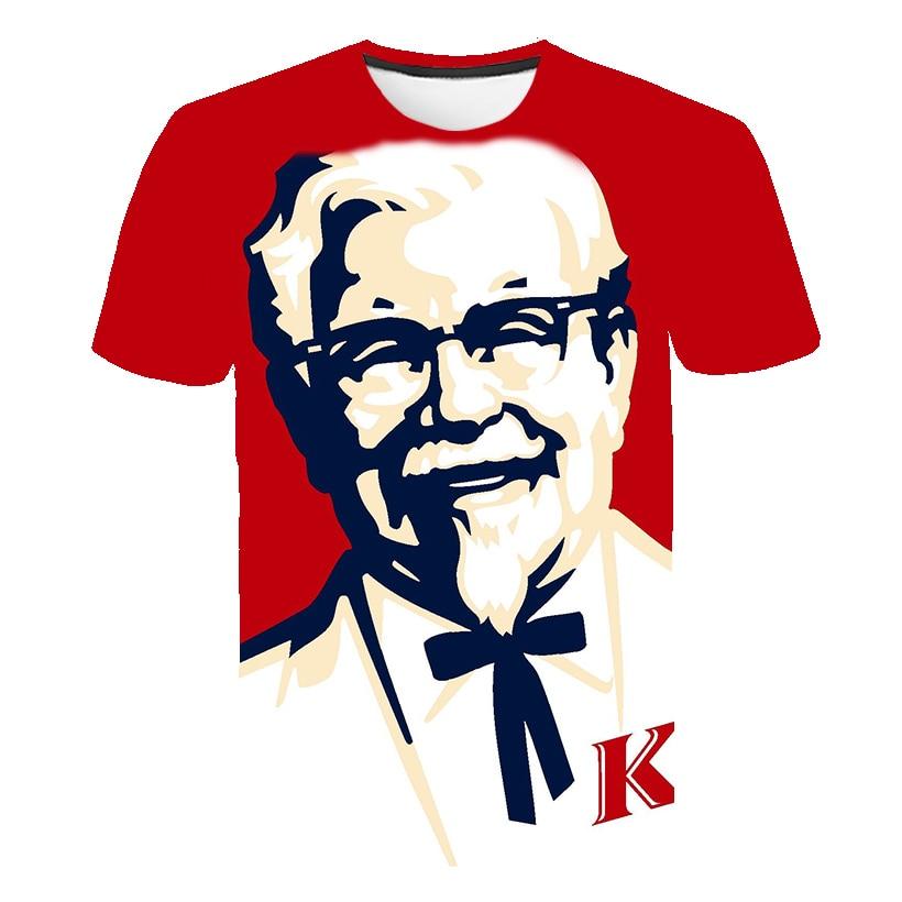 Legal KFC Avô Chefe 3D Imprimir camiseta Homens/Mulheres Hipster T Tshirt Menino Hiphop Crewneck Branco T-shirt Tee harajuku Grande tamanho 5XL