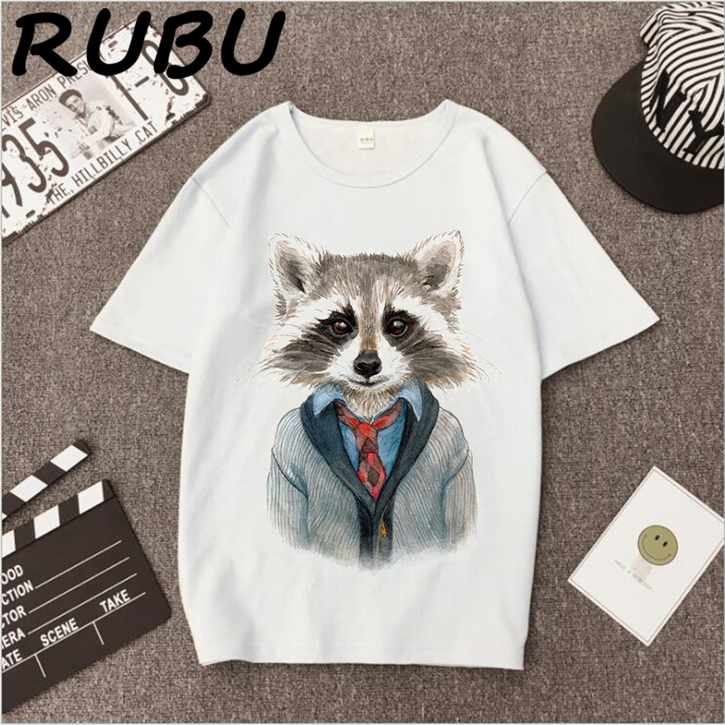 b17176ccc RUBU Women's tshirt 2018 Printed Lovely Raccoon Tee Shirts Short Sleeve  Summer Tops For Women Plus