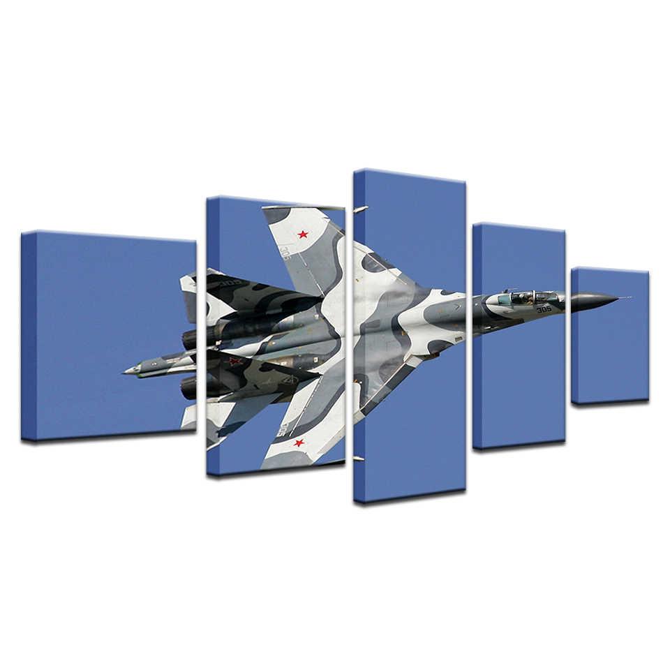 5 Panel modułowa kamuflaż 305 samolot myśliwski obraz na płótnie walki obraz na ścianie sztuki dla pokoju gościnnego Decor Cuadros