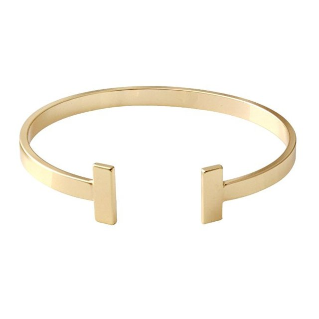 Beautiful Useful Bangles Simple Gold And Silver Double T Nine West Cuff Bracelet