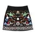 vintage embroidery black floral short mini skirt Casual autumn winter high waist slim women skirt Vintage skirts faldas saias