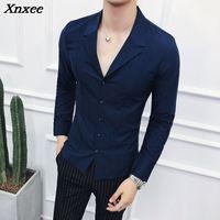 Men Clothes 2018 Suits Collar Shirts Mens White Shirts Mens Blue Designer Shirts Black Camisa Social Masculina Slim Fit Gomlek
