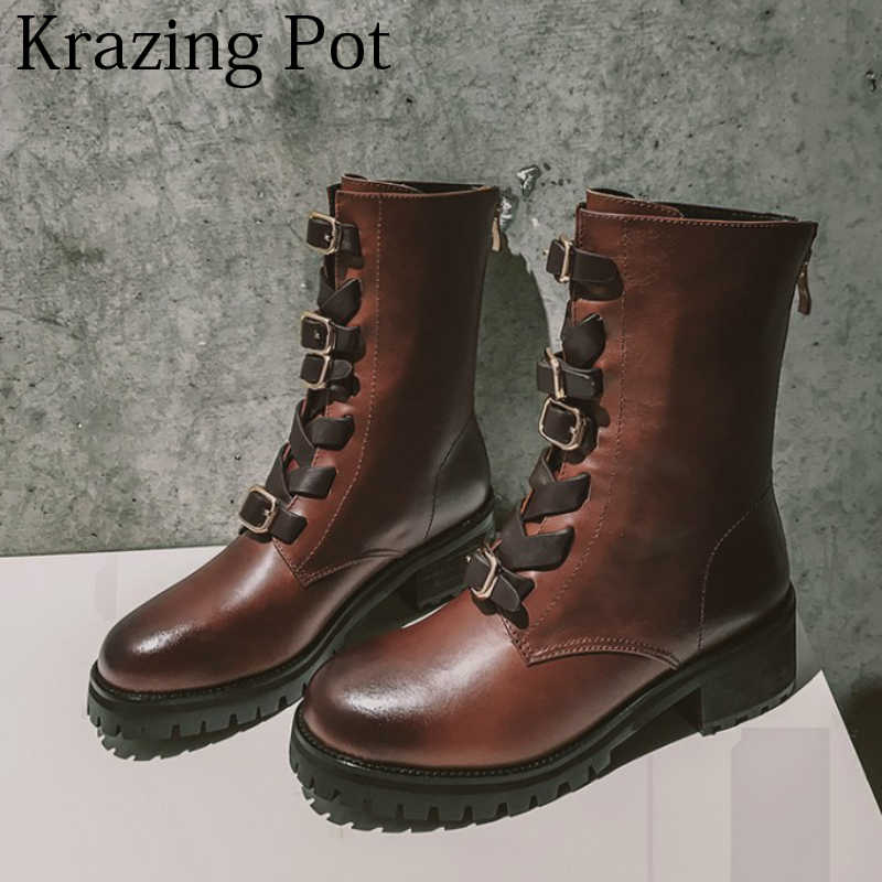 2018 New Arrival Zipper Cow Leather Keep Warm Winter Shoes Med Heel Motorcycle Boots Metal Buckle Women Riding Ankle Boots Lrfa