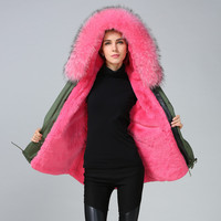 Women S Army Green Large Raccoon Fur Hooded Long Coat Parkas Outwear Natural Rabbit Fur Lined