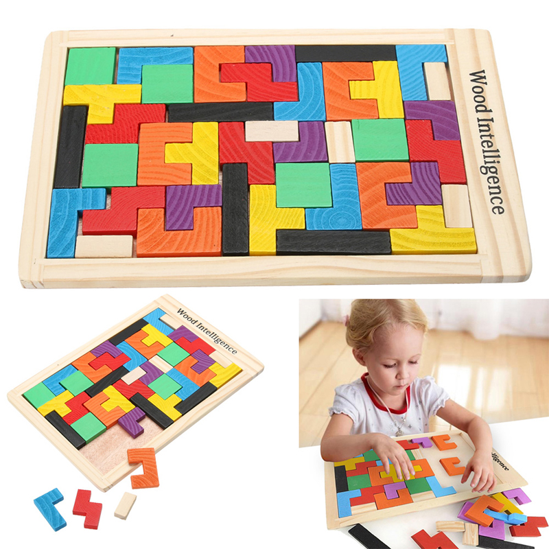 Wooden Tangram Puzzle Jigsaw Board Hand Tetris Game Brain Teaser Shape Matching Puzzle Kids Educational Jigsaw Toy