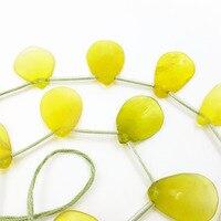 Lii Ji Natural Stone Korea Jade Leaf Loose Beads 14x18mm For DIY Jewelry Making Braceet Necklace approx 21 pcs