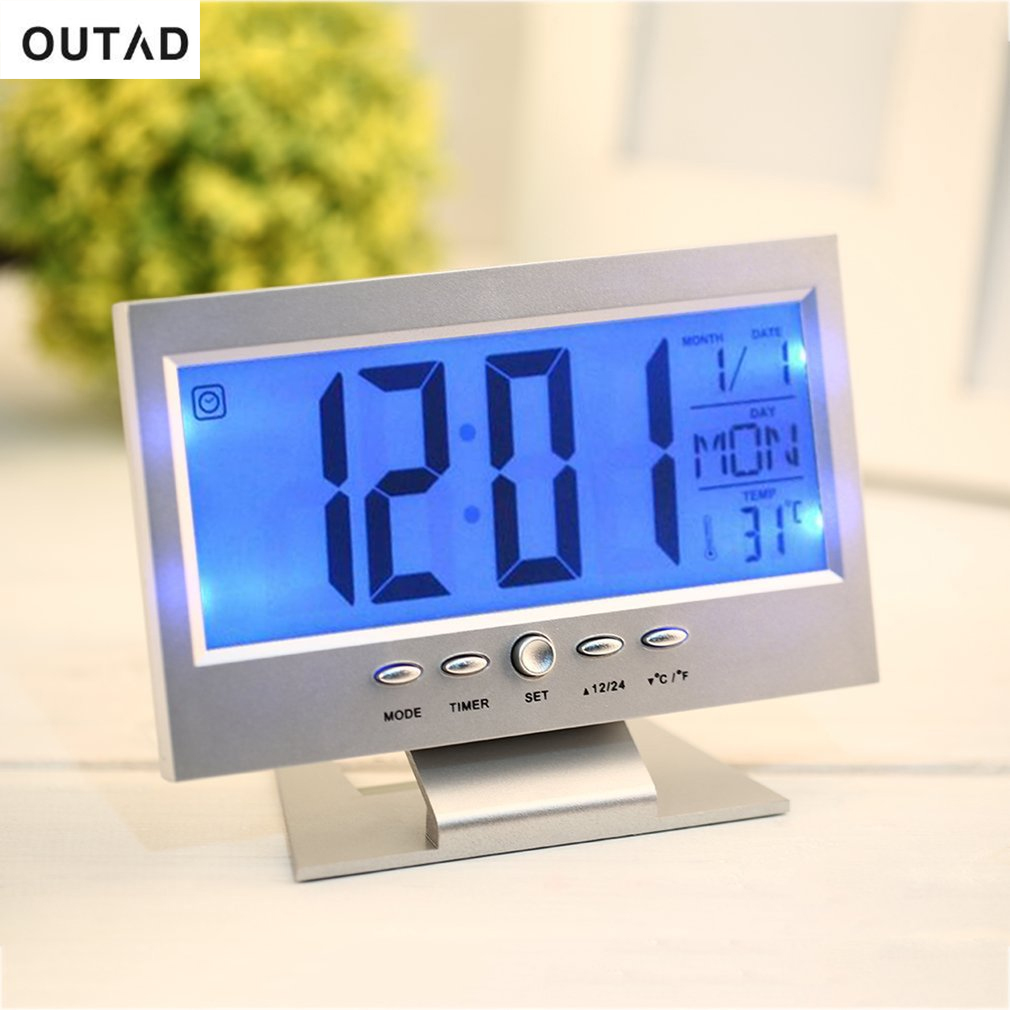 OUTAD 2 Colors Electronic LCD Alarm Desk Clock Voice Control Back-light Weather Monitor Calendar Clock With Thermometer