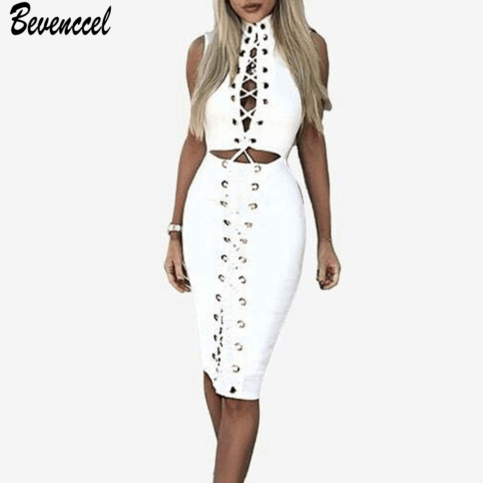 Women Sexy Eyelet Cross Lace Up Bodycon Bandage Dress 2019 New White Front Hollow Out Elegant