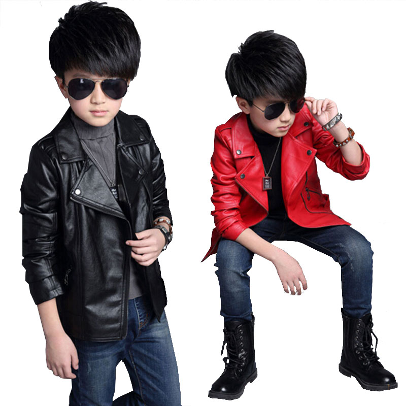 Jacket Spring Autumn Fashion Kids Leather Jacket boys PU Jacket Children Leather Outwear For boys Baby boy Jackets and Coats spring and autumn kids clothes pu leather girls jackets children outwear for baby girls boys zipper clothing coats costume 4 13y