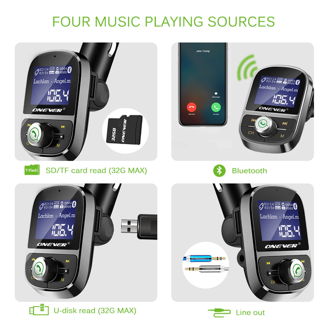 Onever FM Transmitter Wireless Bluetooth Hands-free Car Kit FM Modulator Audio Car Mp3 Player 3.1A USB Charger Support TF Card U