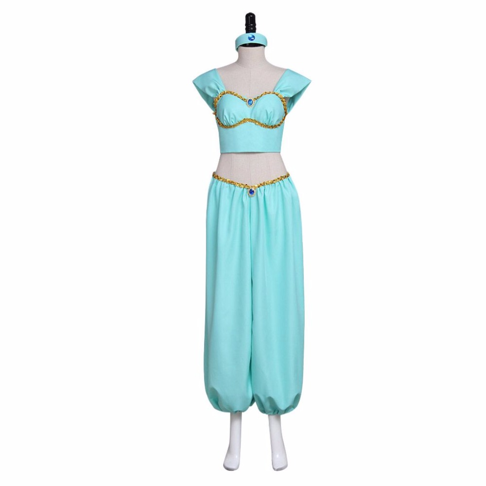 Custom Made Aladdin Lamp Princess Jasmine Dress Suit Adult Women's Halloween Carnival Costume Cosplay