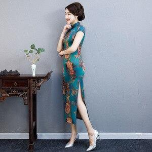 Image 5 - Модное китайское традиционное платье Ципао с воротником стойкой ручной работы на пуговицах новинка длинное облегающее платье с коротким рукавом Осень зима