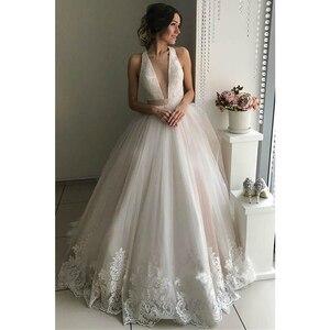 Image 2 - V neck tule vestidos de casamento 2020 applique rendas faixas a linha sem costas até o chão sem mangas vestido de noiva