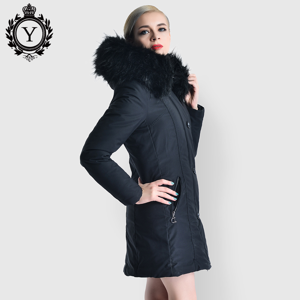 Long Parkas Female Women Winter Jackets and Coats Thicken Down Cotton Padded Jacket Fur Collar Hooded Warm Coat 2019 COUTUDI NEW