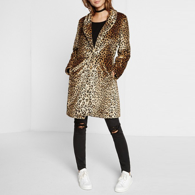 Collare Della Outwear Faux Di Lusso Rivestimento A Lungo Cappotto Pelliccia Inverno Delle Sottile Ve Leopardo Donne Del Giacca Stampa Imbottiture Leopard Gira Signora uPiOXTkZ