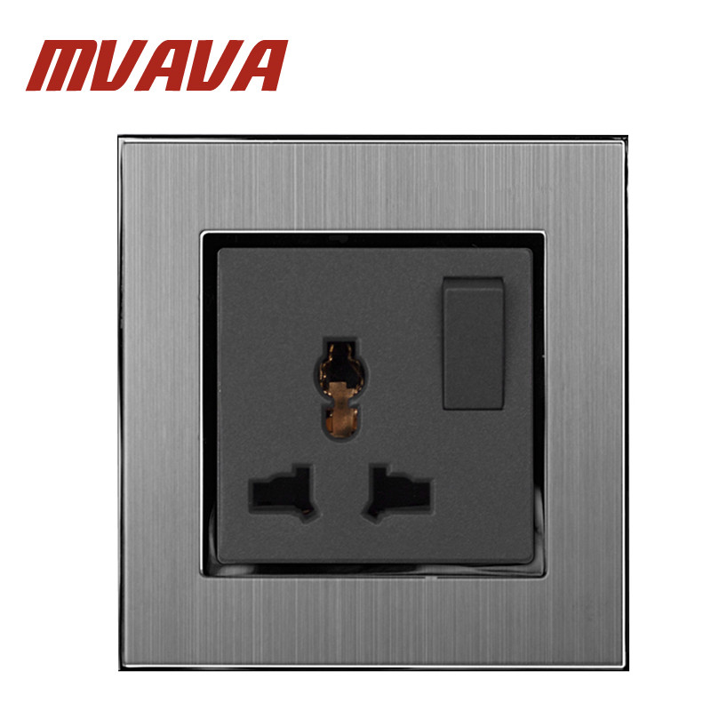 MVAVA 1 Gang Switch And Universal Sokcet 110 250V Brushed Silver Metal Switch And 3 Pin Universal EU UK US Power Wall Socket in Electrical Sockets from Home Improvement
