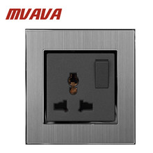 MVAVA 1 Gang Switch and Universal Sokcet 110-250V Brushed Silver Metal Switch and 3 Pin Universal EU UK US Power Wall Socket