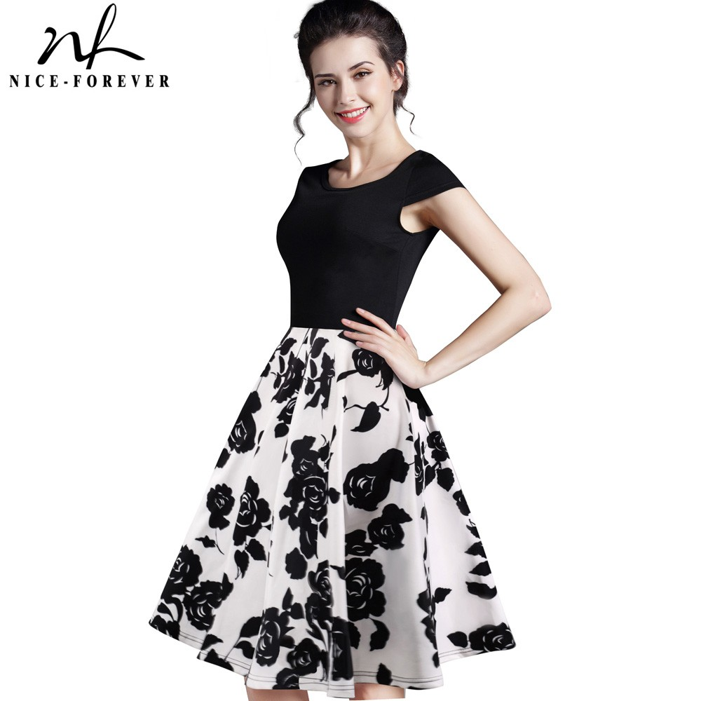 Nice-forever Summer Floral Casual Stylish Elegant Print Charming Women O Neck Sleeveless Zipper Work Office Expansion Dress A009
