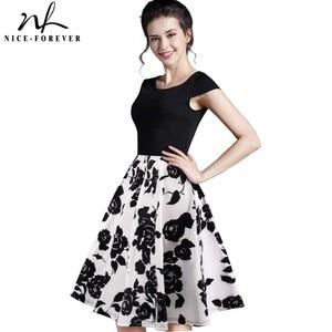 Image 1 - Nizza für immer Sommer Floral Beiläufige Stilvolle Elegante Print Charming Frauen O Neck Sleeveless Zipper Arbeit Büro Expansion Kleid A009