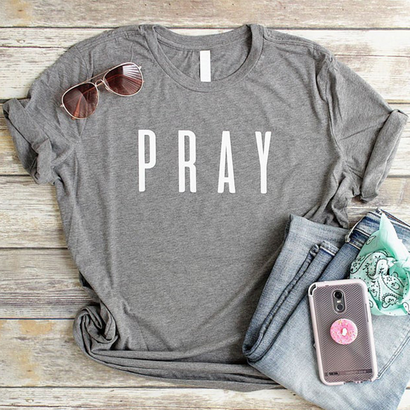 Camiseta da páscoa das mulheres da camiseta da forma das camisas do cristão da oração camiseta da forma carta imprimir gery camisetas topos de algodão tshirt dropshipping