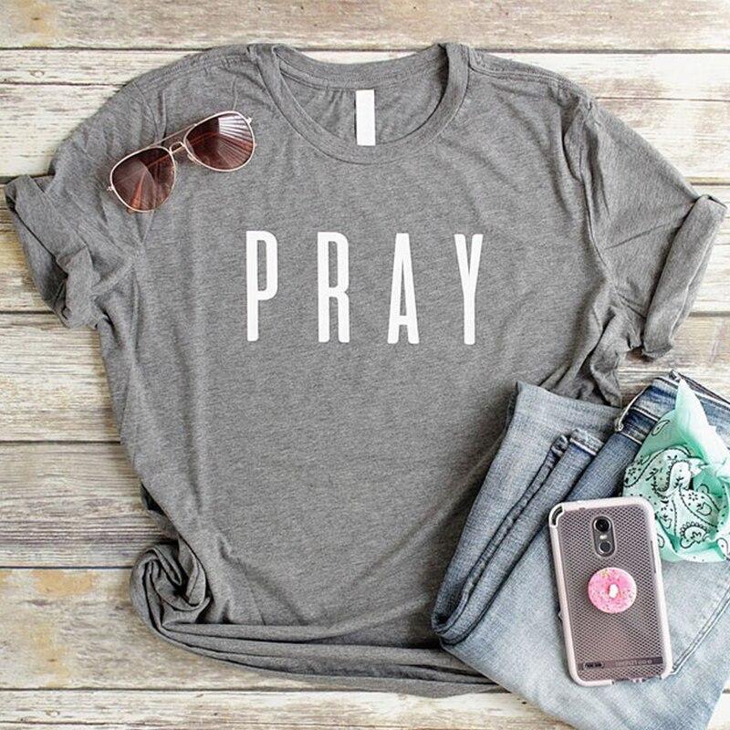 Pray Christian T Shirts Fashion Clothes Women's Tshirt Easter T-shirt Letter Print Gery Tees Tops Cotton Tshirt Dropshipping