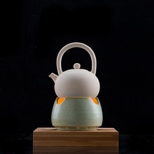 Estufa de té de estilo Vintage, estante de cerámica gruesa, soporte para tetera, accesorios de juego de té Kung Fu, velas, Base de Sake para calentar café