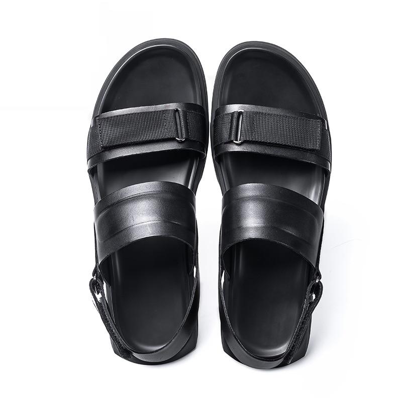 Homens Verão Minimalista Respirável Genuíno Superior De Com Do Mycolen Qualidade Design Dos Da Sandálias Sapatas Praia Couro Black Preto xqFpAtxX