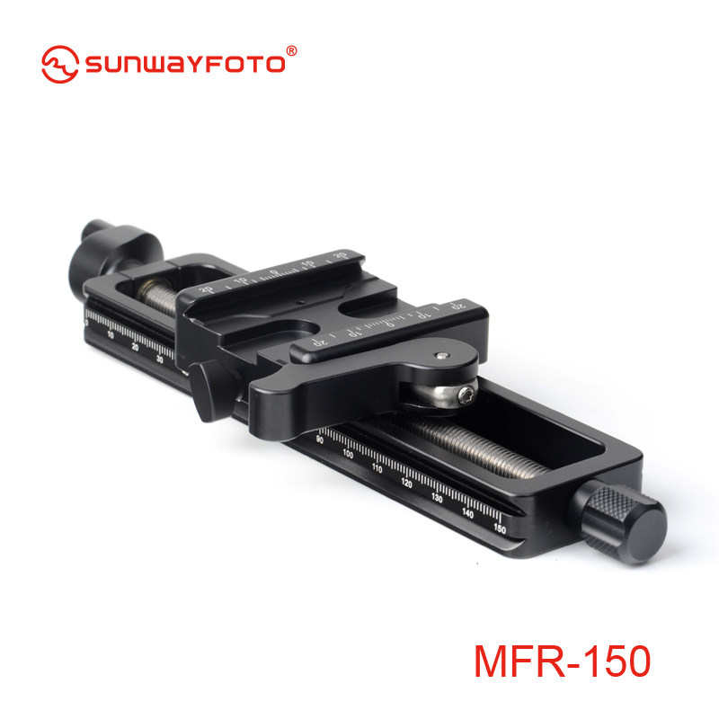 лучшая цена SUNWAYFOTO MFR-150 High Quality Aluminium 4-way Macro Slider Macro Photography Tripod Oodaklama Macro Focusing Rail Slider Plate