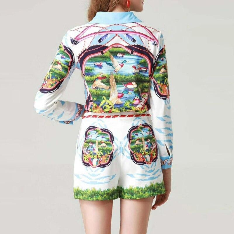 Pièces À Qualité Manches Chemisiers Décontracté Costumes Pantalon Femmes Ensemble Imprimé Supérieure Multi Jeu De Et Piste Deux Mini Shirt Hauts Longues Mode vYrvqzw