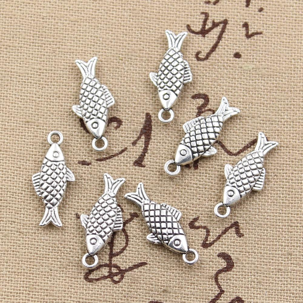 12pcs Charms double sided fish 20x8mm Antique Making pendant fit,Vintage Tibetan Silver,DIY bracelet necklace
