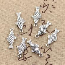 12pcs Charms double sided fish 20x8mm Antique Making pendant fit,Vintage Tibetan Silver,DIY bracelet necklace