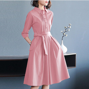 Image 3 - אופנה ורוד נשים של שמלות שרוך קשת גבירותיי Robe Femme קיץ חולצות שמלות אלגנטי Vestidos אישה משרד בגדים