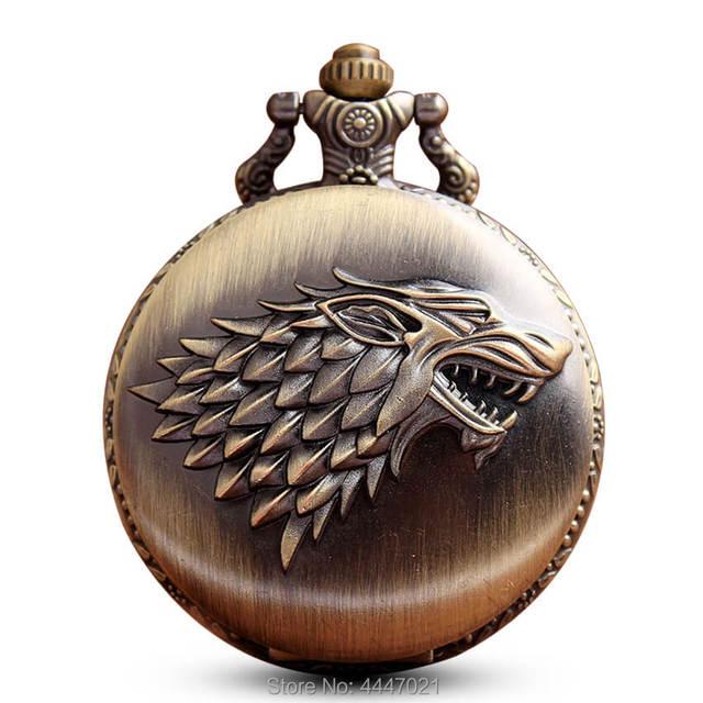 Game Of Thrones Wolf Pocket Watch Chains Necklace Antique Quartz Fob Watches Ste
